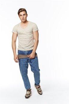 MADOX design - spodnie madoxy jeansowe z podszewką w brązowe paski