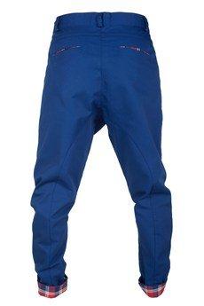 MADOX design - spodnie madoxy granatowe z kratką