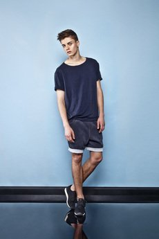 Keyce - Navy roll-up sleeves t-shirt