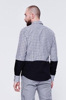 - Dwukolorowa koszula męska kratka + czarny kolor
