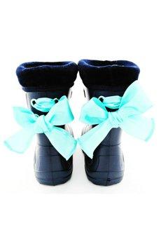 RUBBERIES - Blue Mint Bow - kaloszki dla dzieci