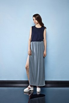 Keyce - SIDE SLIT TURQUOISE MAXI SKIRT