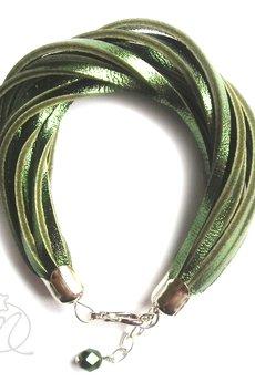 Mikashka - Bransoletka skórzana zieleń metaliczna
