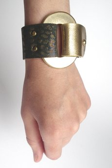 Mikashka - Bransoletka skóra grafit i złoto GOLDen