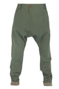 MADOX design - spodnie z niskim krokiem oliwkowe