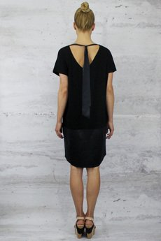 - KATE jersey with leather imitation dress