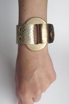 Mikashka - Bransoletka skórzana złote łuski GOLDen