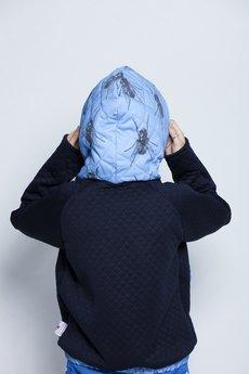 w kropki - MUCHY Pikowana bluza w muchy NIEBIESKO-GRANATOWA
