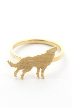 Animal Kingdom - Pierścionek Animal Kingdom Petite z wilkiem