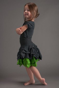 Hultaj Polski - Spódnica podwójnie spieniona dziecięca zielona