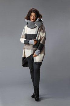NUBEE - NUBEE - ASYMMETRY STACK płaszcz swetrowy