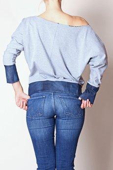 - Dwustronna Bluza dzianinowa z jeansowym wykończeniem
