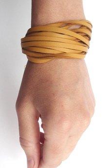 Mikashka - Bransoletka skórzana miodowa