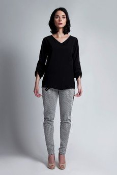Lanti - Kopertowa bluzka BLU 118 - czarna