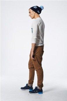 MADOX design - spodnie z niskim krokiem brązowe z kratą morską