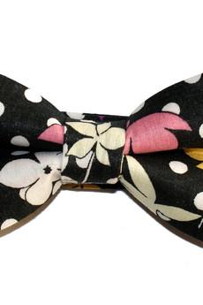 bowstyle - Mucha gotowa bowstyle Czarna w grochy i kwiaty