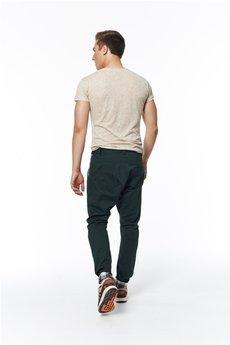 MADOX design - spodnie z niskim krokiem zielone z kratą brązową