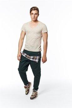 MADOX design - spodnie madoxy zielone z podszewką w kratę brązową