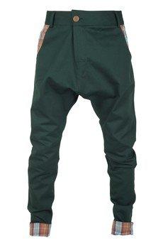 MADOX design - spodnie z niskim krokiem zielone z kratą morską