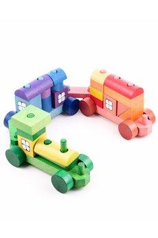 Tarnawa Toys - Pociąg z klocków kolorowy- mały