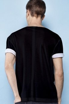 - Black roll-up sleeves t-shirt