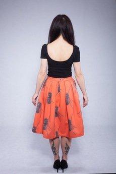 w kropki - ORANGE FLIES Pomarańczowa spódnica