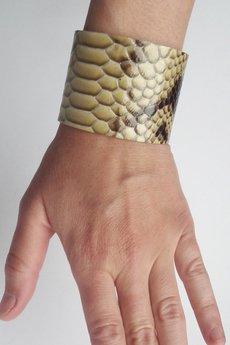 Mikashka - Bransoleta skórzana łuski węża oliwka