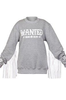 EVC DSGN - EVC DSGN / bluza z frędzlami Wanted SWTR_szara