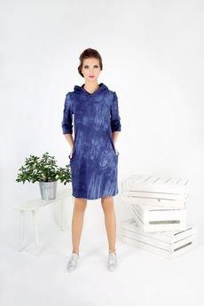 Lambear - Batikowa  sukienka z kapturem