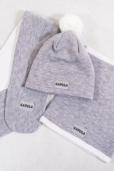 Gapula - Szaliczek zimowy dwukolorowy jasno szary