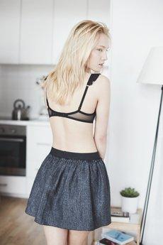 THE ODDER SIDE - Szaro-czarna mini spódniczka tweedowa.