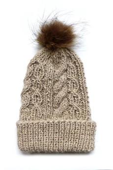 The ADVENTURE Begins - czapka z wełny alpaki z naturalnym futerkiem