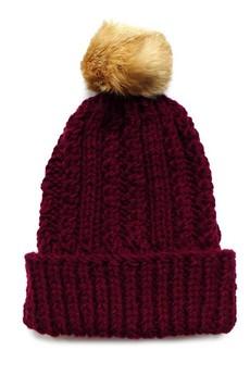 The ADVENTURE Begins - bordowa czapka z naturalnym futerkiem