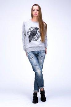 - Ciepła bluza z nadrukiem kruka