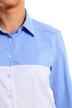 BLUE EYE POP - Damska niebiesko-biała koszula z nowej kolekcji