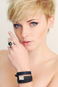 Joccos Design - Black Crystal Leather Ring in Silver