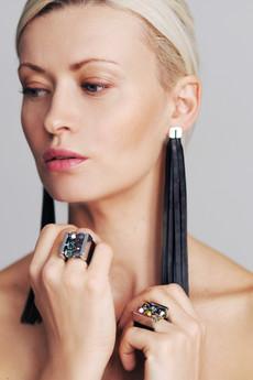 Joccos Design - Long Tassel Leather Earrings in Gold