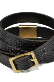 Bogota faux lizard shiny black bracelet 2