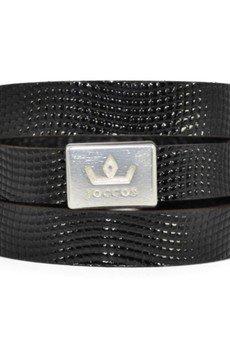 Bogota faux lizard shiny black bracelet 1 silver