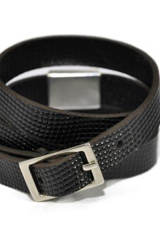 Bogota faux lizard shiny black bracelet 2 silver