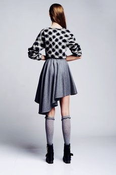 - Grey asymmetric skirt