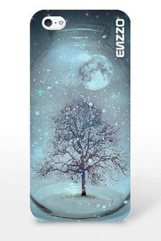 ENZZO - Etui do iPhone5/5s Winter tree+folia+chusta z mikrofibry
