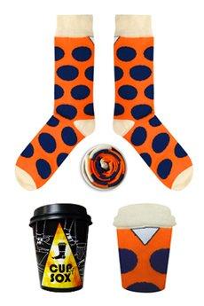 CUP OF SOX - Pomarańczowe skarpety w granatowe grochy