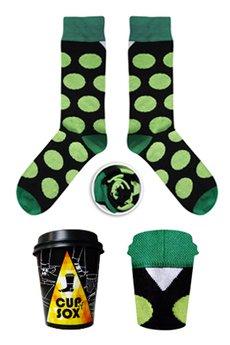 CUP OF SOX - Czarne skarpety w zielone grochy