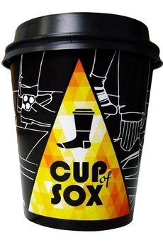 CUP OF SOX - Rubinowe skarpety w zielone grochy