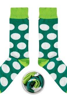 CUP OF SOX - Zielone skarpety w białe grochy