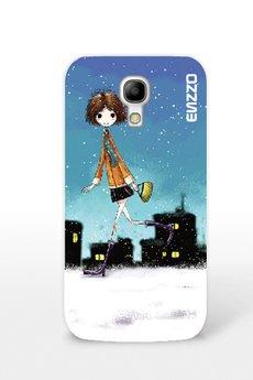 """ENZZO - Etui do SamsungS4""""Autumn girll+folia+chusteczka z mikrofibry"""
