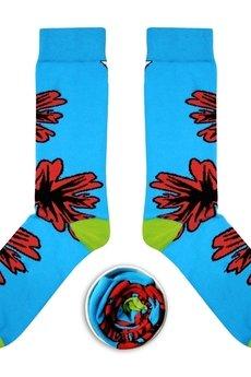 CUP OF SOX - Błękitne skarpety z czerwonym kwiatem