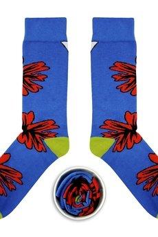 CUP OF SOX - Niebieskie skarpety z czerwonym kwiatem