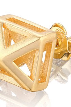 Joccos Design - Small 3D Pyramid Earrings in Gold